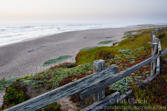 An overcast sunset at North Beach in Point Reyes National Seashore