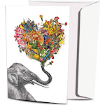 Tree-Free Greetings - Love Elephant Eco Note Cards - 12 Count
