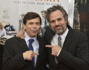 Investigative reporter from the 'Boston Globe' Spotlight Team Michael Rezendes and actor Mark Ruffalo attend the Boston premiere of 'Spotlight'. Photograph: Paul Marotta/Getty Images for Open Road