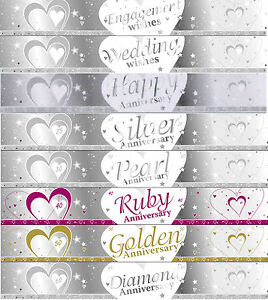 9ft SILVER & WHITE WEDDING / ANNIVERSARY BANNERS 27cm IDEAL PARTY
