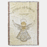 Personalize: Gold Christmas Angel of Grace Throw Blanket