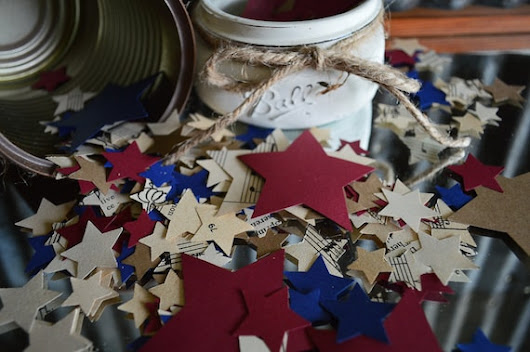 500 Red White Blue Star Paper Confetti 4th of July by JuliBecker