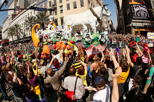 Riders in the Krewe of Rex parade through the city during Mardi Gras day on February 24, 2009 in New Orleans, Louisiana. The Mardi Gras celebration ends at midnight, when the Catholic Lenten season begins with Ash Wednesday and culminates with Easter.