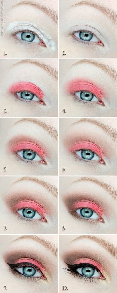 Make up tutorial - Orange, brown, eyeliner