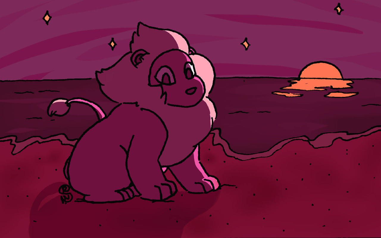 lion from steven universe he's enjoying a night at the beach