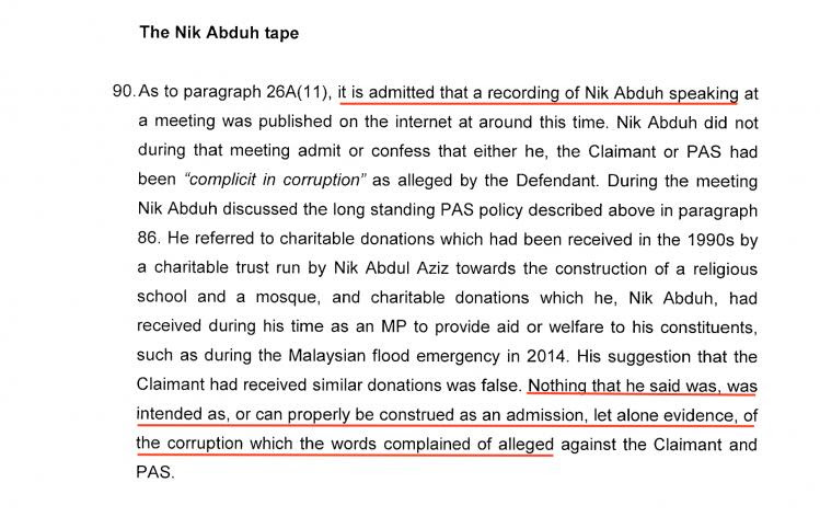 Admission the recording was genuine, but denial it referred to corrupt payments from UMNO