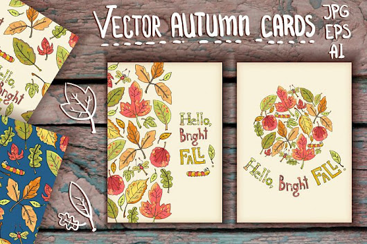 Vector Hand Drawn leaves Autumn Cards | Design Share