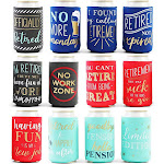 12-Pack Retirement Neoprene Can Cooler Sleeves, Beer Koozies for Family Office Party Supplies and Decorations