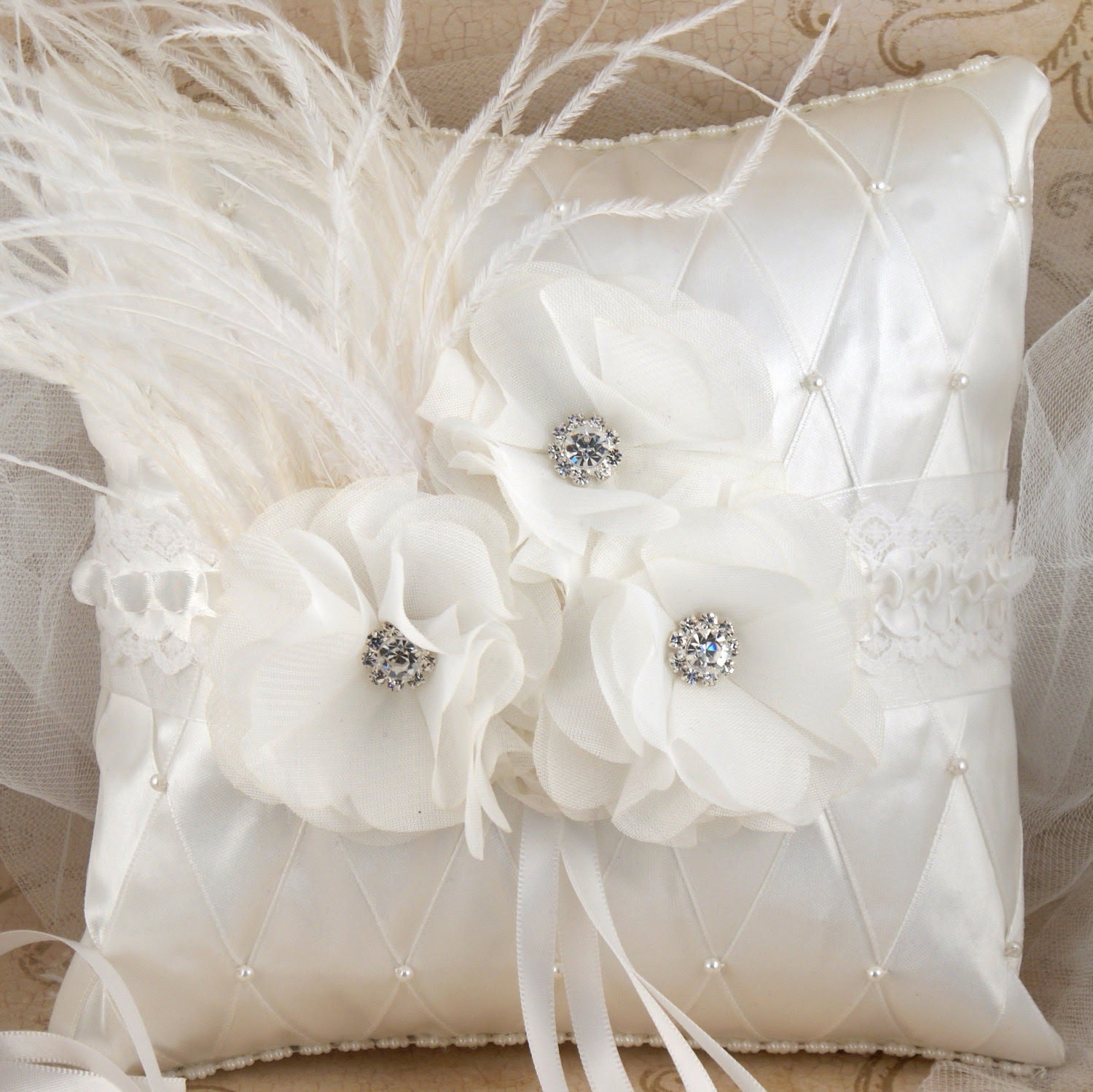 Ring Bearer Pillow in White and Off-White with Chiffon Flowers, Pearls, Ostrich Feathers and Jewels