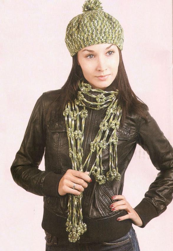 Берет и ажурный шарф крючком.