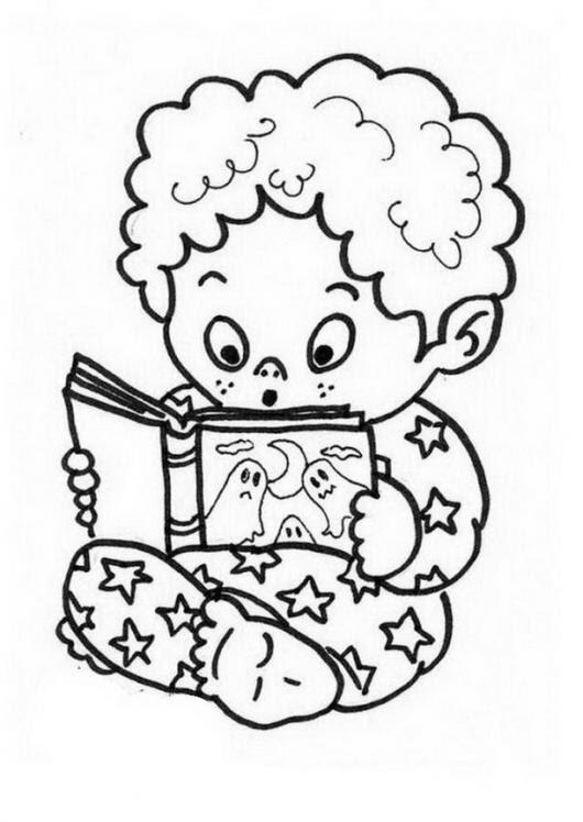 Dibujo De Bebe Colocho Leyendo Un Libro De Miedo Para Pintar Y
