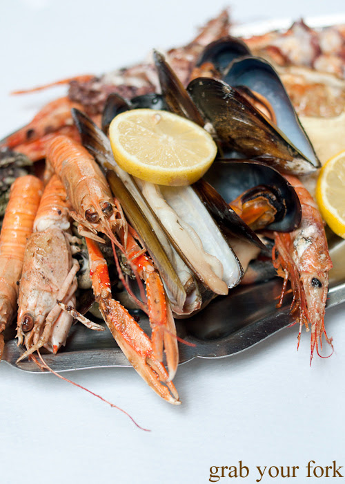 Langoustines, razor clams, mussels and prawns from O Paladar seafood restaurant, A Coruna, Galicia, Spain