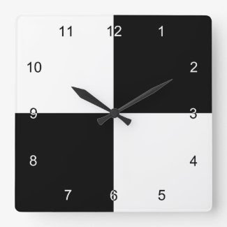 Black and White Rectangles Clocks