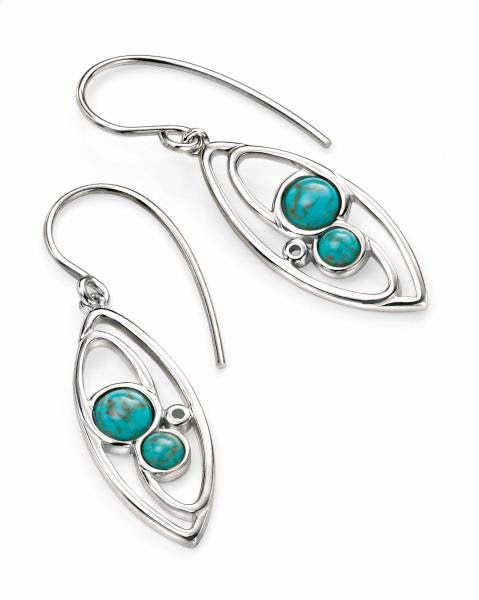 Silver Faux Marquise Drop Turquoise Earrings | Cornish Jewel