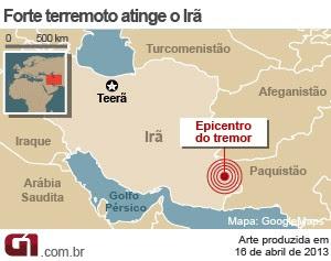 mapa terremoto irã (Foto: Arte/G1)