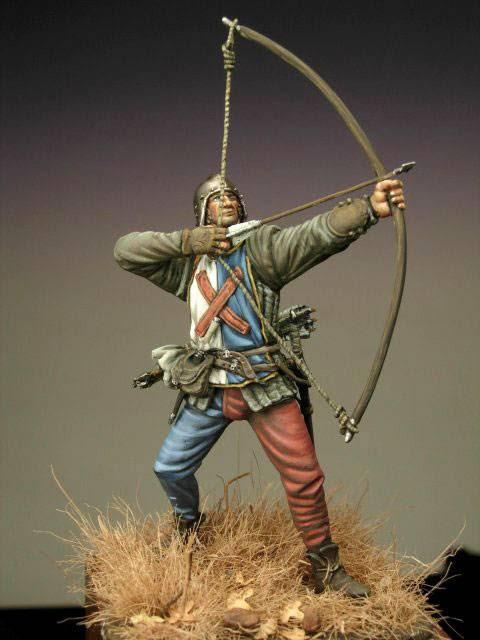 La viñeta recrea la figura de un Arquero Borgoñes en plena batalla alrededor del año 1475.