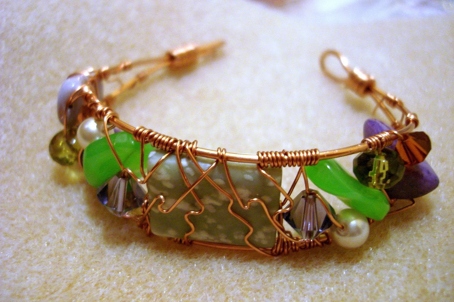 mixed media wire bracelet