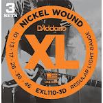 D'addario Exl110-3D, 3-Pack Nickel Wound, Regular Light, 10-46