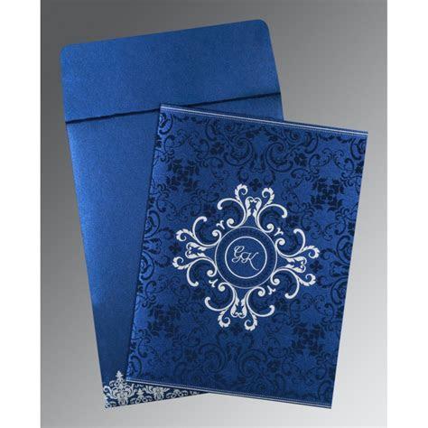 COBALT BLUE SHIMMERY SCREEN PRINTED WEDDING CARD : W 8244K