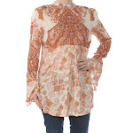 Free People Lady Luck Printed Bell Sleeve Tunic Top, Womens
