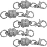 Evelots Circular Rhodium Plated Magnetic Clasps, Stylish Vintage Look- Set/5 5504