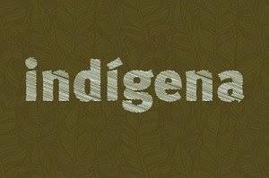 Arte com fundo na cor verde musgo e desenhos indígenas tem escrito a palavra indígena na cor branca