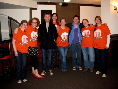 ennuimagee:  daysofstorm:  Joe Lidster, Michael Price with the Baker Street Babes and friends :)  ALL the orange!  BSBs Ardy, Curly, Kafers, Maria with Nadine, Janine, and our darling guests, Michael Price & Joe Lidster!