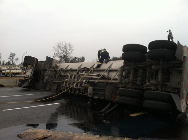 The overturned tanker on I-95 (Prince George's County Fire Department)