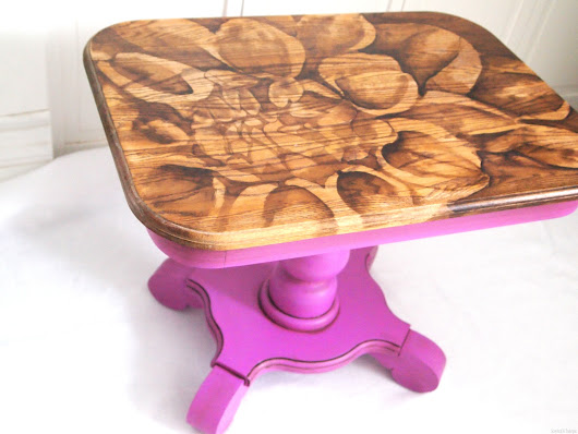 Radiant Orchid End Table With Stained Flower - Sawdust and Embryos