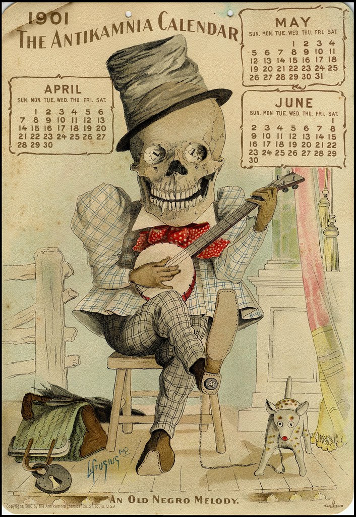 smiling seated skeleton wearing suite and hat plays banjo