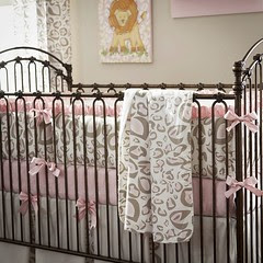 carousel designs pink-and-taupe-leopard-crib-blanket