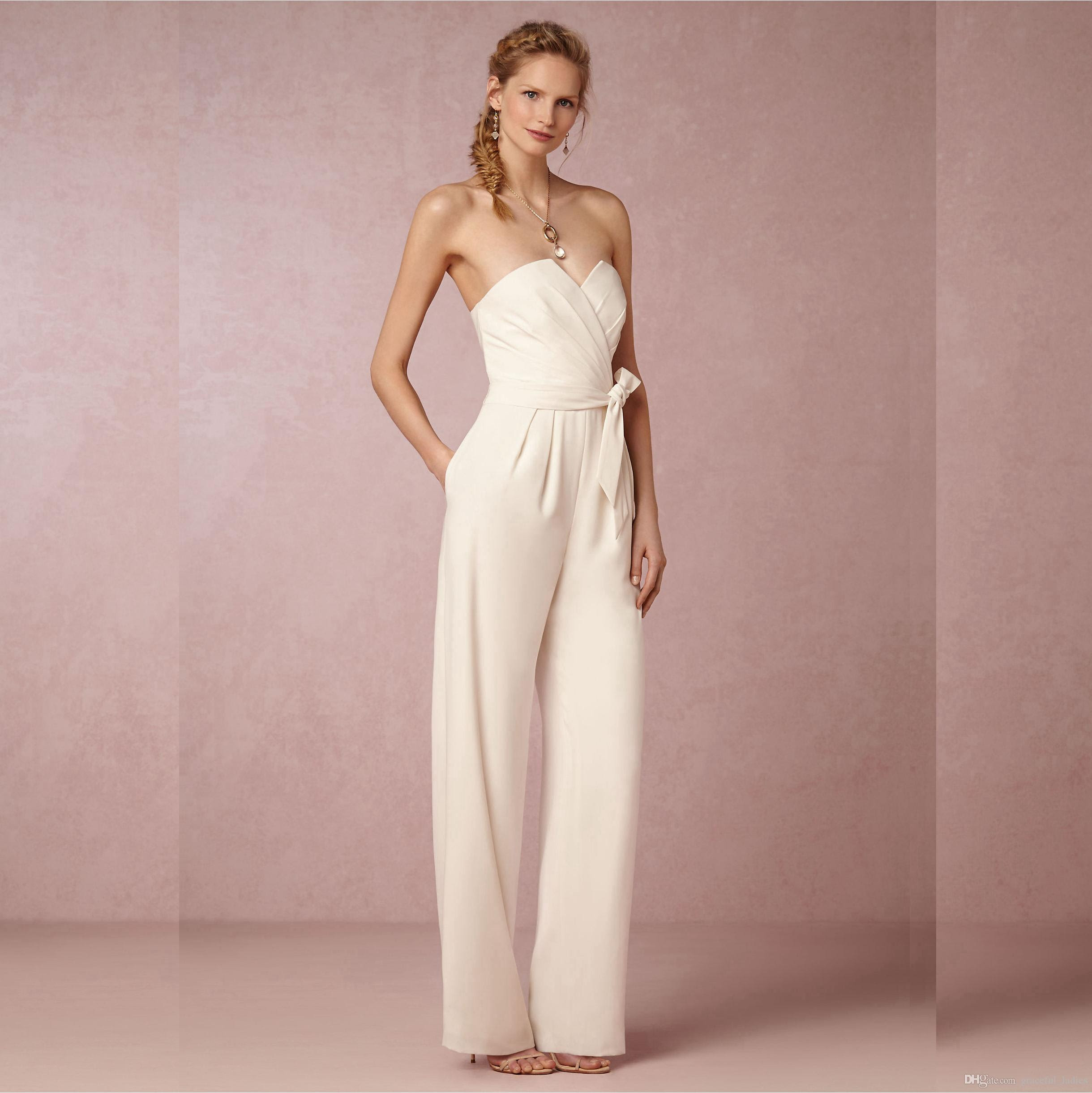 ivory chiffon wedding pant suits for brides sweetheart