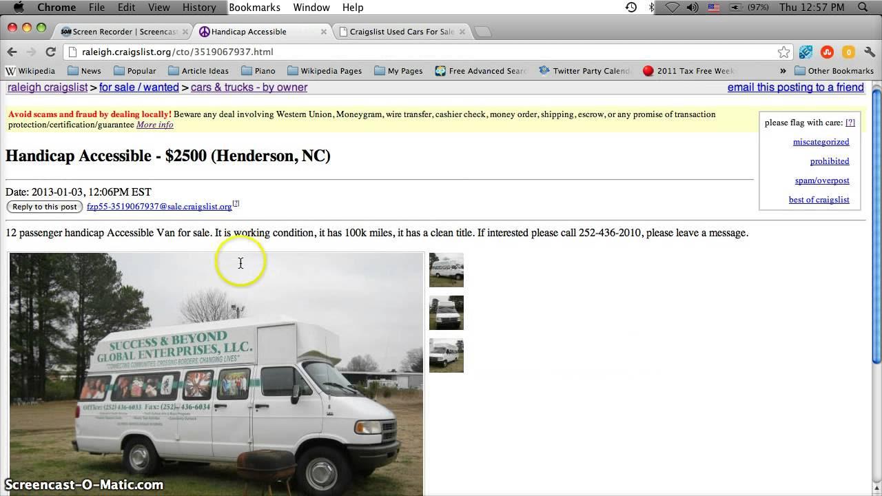 Craigslist Handicap Vans For Sale By Owner In North