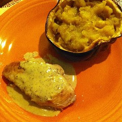 Mustard Chicken and Roasted Acorn Squash #wfd