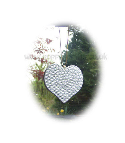 Pretty Silver sparkly gem heart mirror hanging bling car accessories – Poppys Crafts