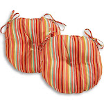 Colton 18-inch Round Coastal Stripe Outdoor Bistro Chair Cushion (Set of 2) by Havenside Home Watermelon