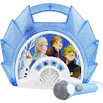 Frozen 2 Sing Along Boombox with Microphone, Built in Music, Flashing Lights, Real Working Mic for Kids Karaoke Machine, Connects Mp3 Player Aux in...