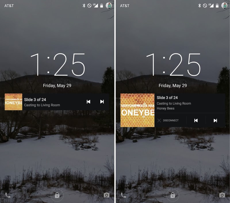Slides now has a lock screen notification to control presentations (left); Swipe down to reveal an option to exit your presentation (right)