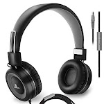 Sonitum On Ear Headphones with Microphone, Wired Head Phones with Volume Control for Computer Ipad Cellphone, Kids Headphones for School, Foldable/