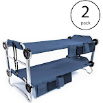 Disc-O-Bed Youth Benchable Camping Cot with Organizers, Navy Blue (2 Pack)