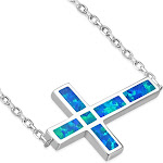 925 Sterling Silver Green Blue Simulated Opal Sideways Cross Pendant Necklace