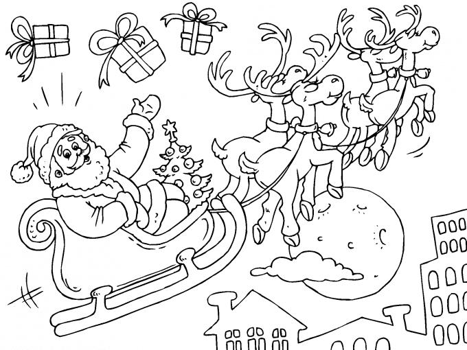 Santa Claus Volando En Su Trineo De Renos Para Imprimir