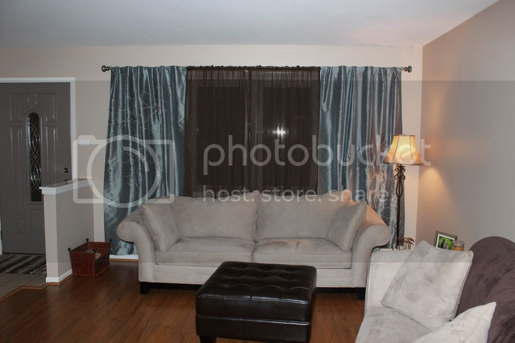Living Room - Blue and Brown Curtains with Tan Couches