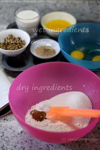 preparing Coffee-Cake Muffins