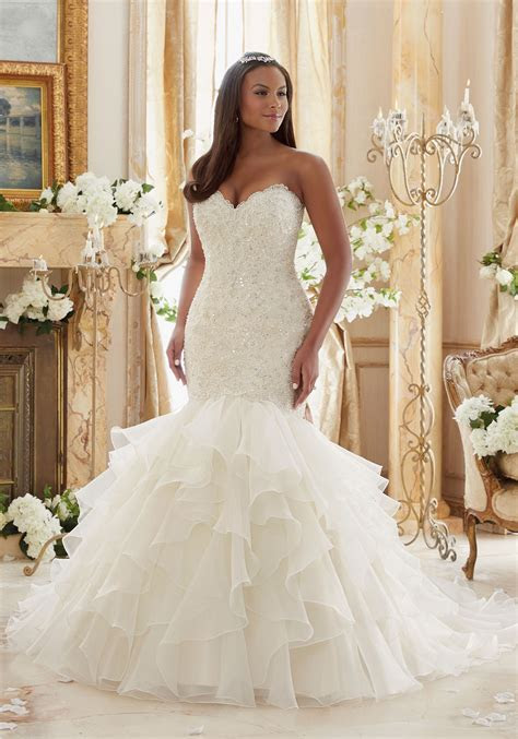 Crystal Beaded Embroidered Lace Meets Flounced Organza