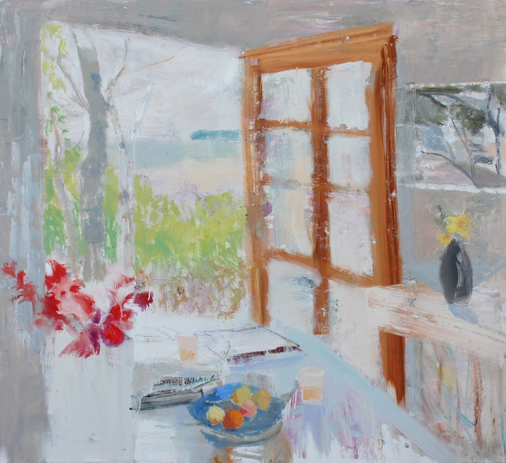 Waking Up on The Island by Melanie Parke 40x44 oil www.melanieparke.com Inspiration : still life, flowers, painted plate, fish, table, fruit bowls, Leland, Michigan, Fishtown, Manitou Island, Lake Michigan, Bonnard, Matisse.