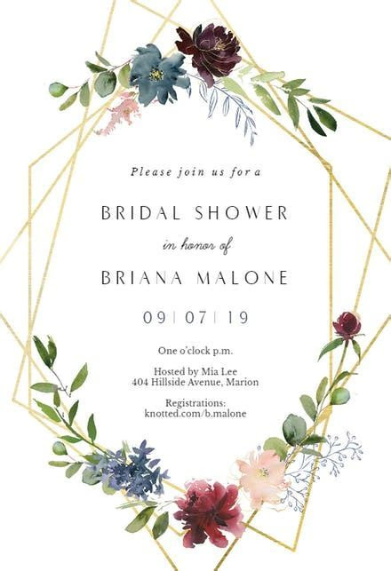 Geometric & Flowers   Bridal Shower Invitation Template
