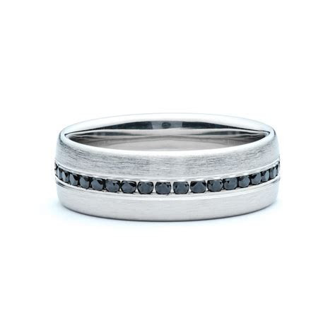 Black Diamond Brushed Men's Wedding Band   JM Edwards Jewelry