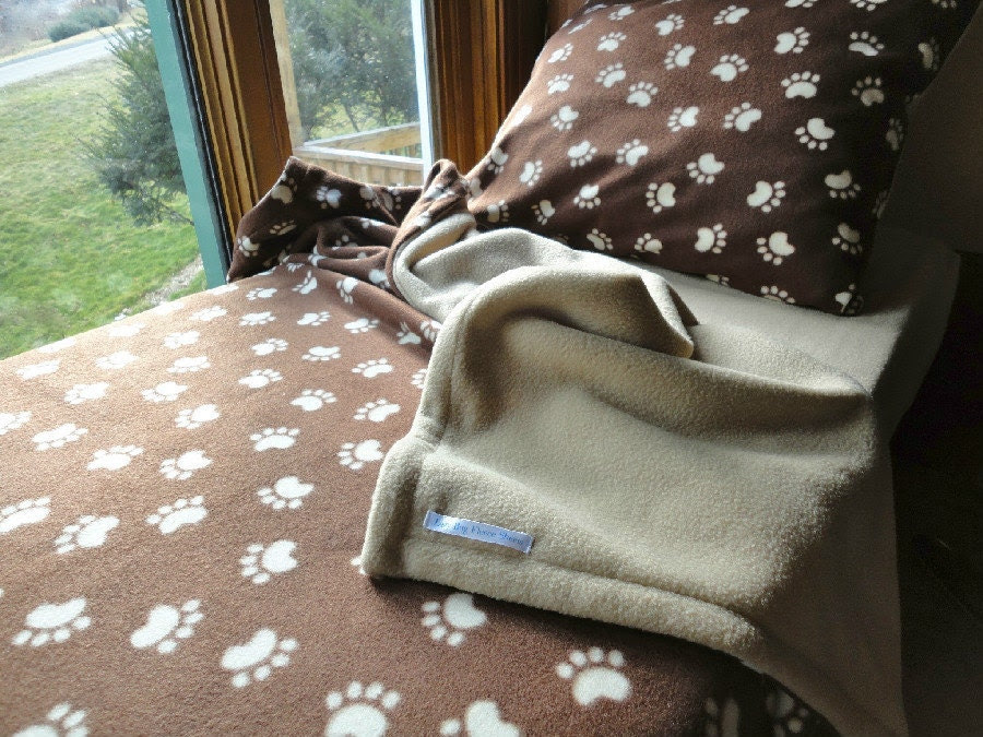 Twin Sized Bedding Boys & Girls Handmade Fleece Bed Set 'Cappuccino Paw Prints' (Ready to Make)