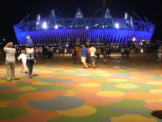 The main stadium, at night